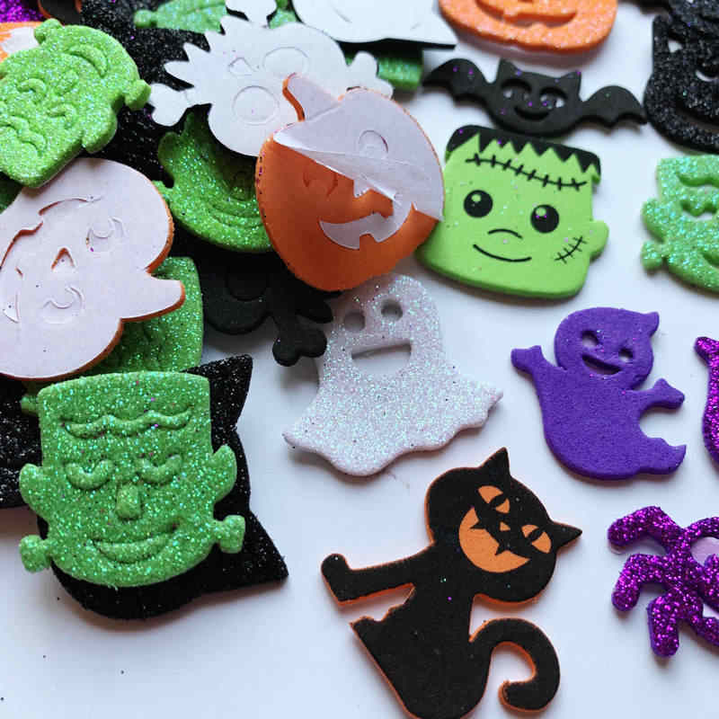 1bag/Lot bglitter Halloween pumpkin spider foam stickers ghost crafts activity items Kindergarten diy toys Trick or treat DIY to