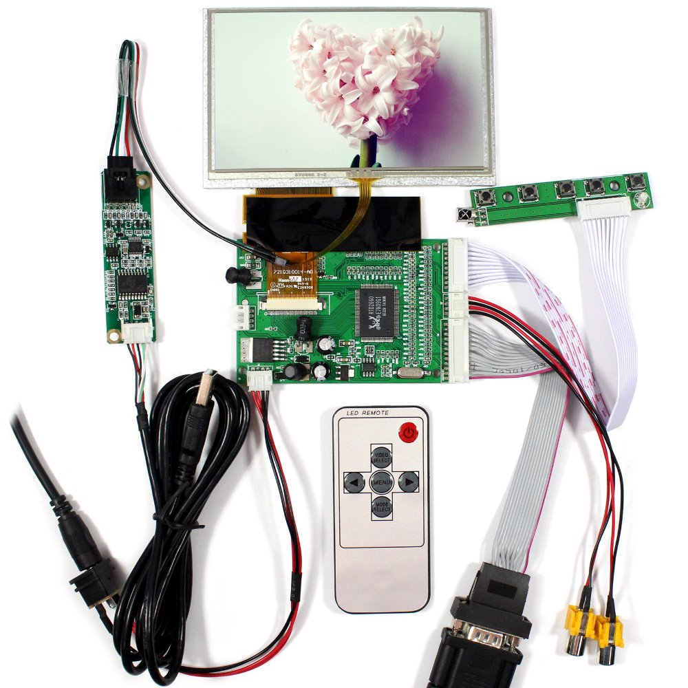 VGA 2AV LCD Controller Board+5 HSD050IDW1 800x480 LCD Screen With Touch Panel 6 2 tft hsd062idw1 800x480 lcd screen with touch panel usb kit plus vga av lcd controller board kit