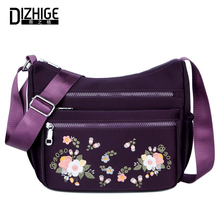 DIZHIGE Brand Fashion Waterproof Nylon Women Bag High Quality Crossbody Bag For Women Luxury Embroidery Female Messenger Bag New new brand esloth for 17 laptop chinoiserie embroidered canvas bag high quality fashion 50cm 11cm 52cm national female bag