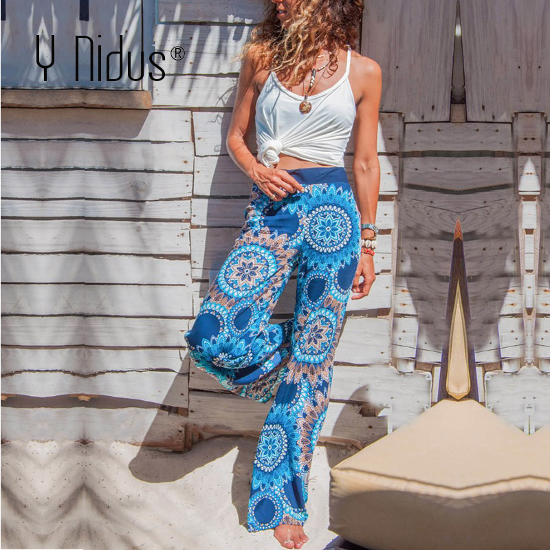 Y Nidus   Pant   Women's Casual Pajama Boho Beach   Pants   Floral Print Drawstring Palazzo Lounge   Wide     Leg     Pant   pantalon femme S-2XL