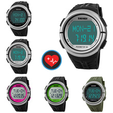 Sports Pedometer Heart Rate Monitor Calories Counter Digital Watch Outdoor Wrist Watches For Men Women Clock Timepiece Timer