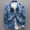 Top quality Vintage mens shirts Light Blue Jeans Collar Shirt Men Casual Autumn spring streetwear Long Sleeve Denim tops Cotton