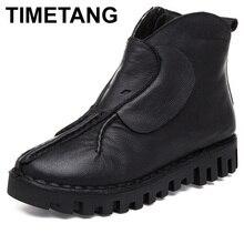 HORÁRIO Mulheres Flats Ankle Boots de Couro Genuíno Botas Martin Botas Outono Inverno Mulheres Quentes Sapatos de Plataforma Preto Botas Feminina