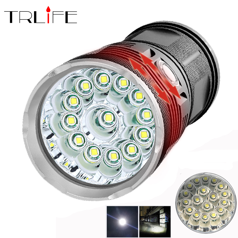 72000Lums High Powerful LED flashlight 18 T6 LED torch flash light waterproof Portable Searchlight with 4