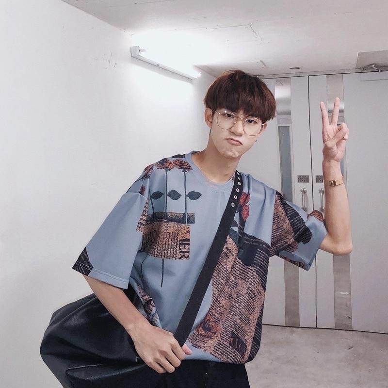 2018 verano nuevos hombres coreanos moda marea de impresión cuello - Ropa de hombre