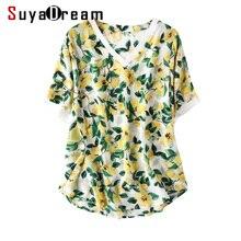 女性のシルクのシャツ 新夏プリントシャツ黄色 v 2019