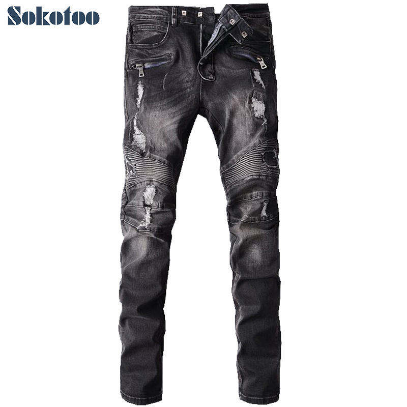 Sokotoo Men's fashion hole ripped biker jeans Male casual vintage black patch washed denim pants Long trousers 2017 new men s fashion vintage zipper patch hole ripped biker jeans slim straight stretch denim pants long trousers