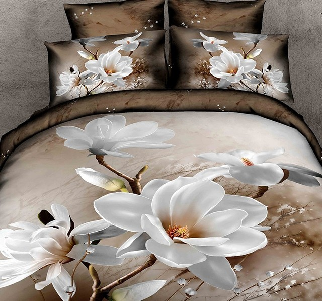 Lenzuola Matrimoniali In 3d.Us 155 0 3d Bianco Magnolia Fiore Bedding Set Floreale Copripiumino Copriletto Lenzuola Attrezzati California King Size Matrimoniale Queen Full Size