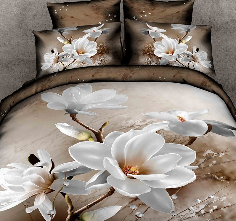 Bon 3D White Magnolia Flower Bedding Set Floral Duvet Cover Bedspreads Fitted Bed  Sheets California King Queen Double Full Size 5pcs In Bedding Sets From  Home ...
