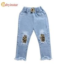все цены на Babyinstar Ripped Jeans For Kids Cheetah Print Baby Girl Jeans Leopard Toddler Girl Jeans Baby Denim Teen Girls Clothing Pants онлайн
