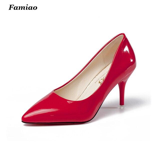 Novo 2016 Moda doce dedo apontado OL mulheres bombas de saltos altos de couro das mulheres 8 cm sapatos de salto alto mulher