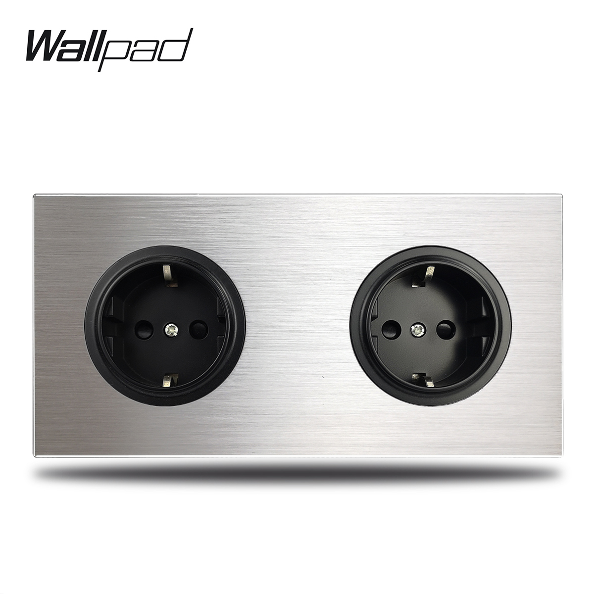 Wallpad Grey 2 Gang Double EU Wall Electric Outlet Socket German Plug Silver Brushed Aluminum Panel Double Plate 172 * 86 Mm