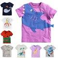 2016 новое европейский стиль мальчиков девочки футболка летние мило хлопка мультфильм футболка детская мальчик девочка топы тройники 2-7Y