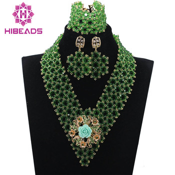 Trendy Green Crystal Handmade African Wedding Bridal Jewelry Sets Nigerian Women Beads Necklace Jewelry Set Free ShippingABH124