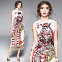 European 2018 Summer New Poker Queen Print Long dress Round Neck Vestidos Mujer