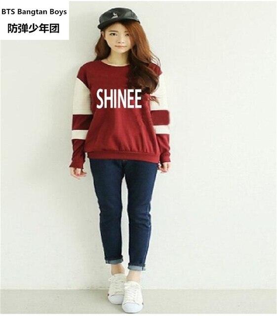 c7e2afc417583 KPOP Shinee concert fans supportive hoodies kpop taemin min ho o neck black  white sweatshirt plus size pullover polerones mujer