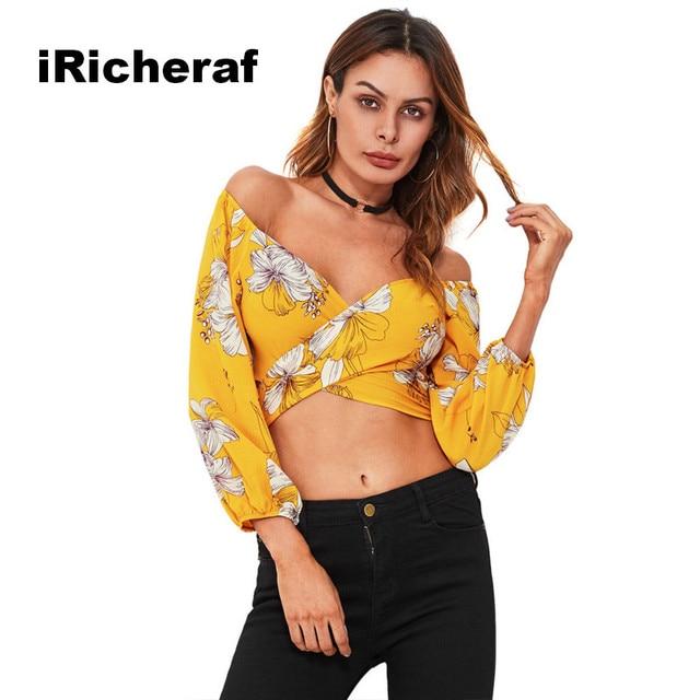 945e10a10b0a9 iRicheraf Fashion Women Wrap Chiffon Blouses Shirt Bow Back Peplum Crop  Tops Sexy V-neck Off Shoulder Ladies Yellow Shirts