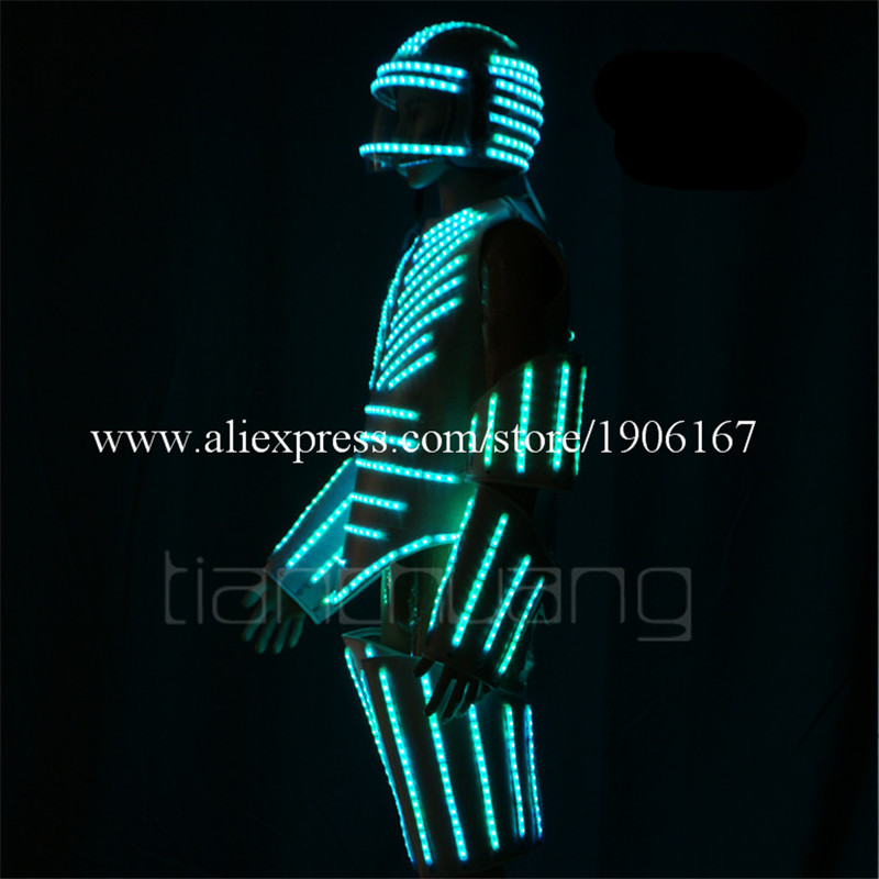 Led light street dance armor dress bar flashing led light clothes stage fluorescent dance performance costumes2