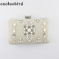 Women Evening Bags Beaded Upscale Vintage Handbag Imitation Pearl Diamonds Women Bag For Party Shoulder Bag