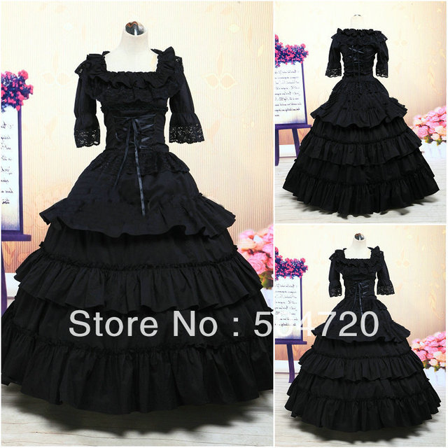 Custom-madeV-410 Black cotton Victorian Gothic Civil War Southern Belle  Ball Gown b096e4b66e6a