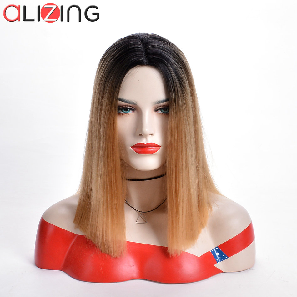 Alizing Ombre Black Brown Silk Straight Lace Front Wig Color T Part Synthetic Hair Long Natural wig k054