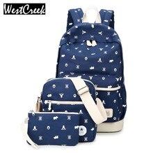 Westcreek Брендовая дизайнерская обувь холст снег рюкзак с принтом комплект для девочек Школьные сумки для подростков Bookbags ноутбука Рюкзаки Для женщин