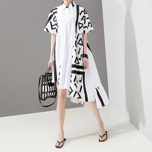 Image 3 - Новинка 2020, корейский стиль, женское летнее стильное белое платье рубашка миди с геометрическим принтом, женское Повседневное платье размера плюс, Robe Femme 5114
