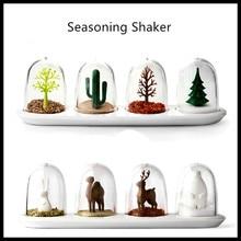 Kreative Kunststoff Gewürz Shaker Gewürzglas Gewürzglas Aufbewahrungsbox Salz und Pfeffer Shaker Würze Container