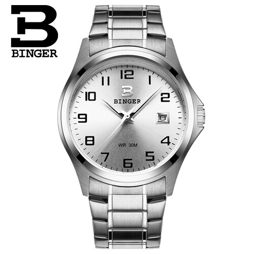 Wristwatch new famous brand binger geneva casual quartz watch men stainless steel dress watches for Watches geneva