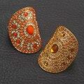 Ethnic vintage Gold diamante rhinestone Adjustable elastic finger Wholesale Rings Women Party alloy jewelry