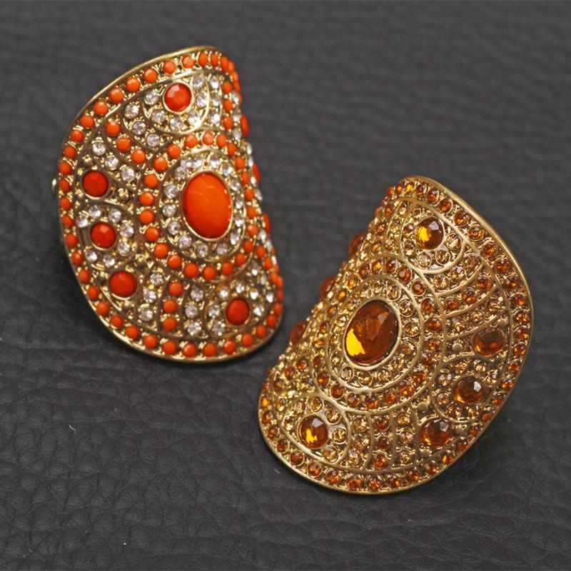 Ethnique vintage Or diamante strass Réglable élastique doigt En Gros  Anneaux Femmes Partie alliage bijoux 1fb41956020