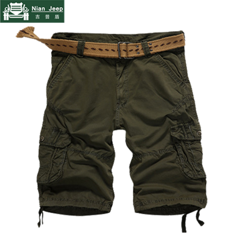 NIANJEEP Summer Mens Shorts 2018 New Camouflage Cargo Pockets Military Trousers Loose Casual Regular Cotton Short Pants No Belt