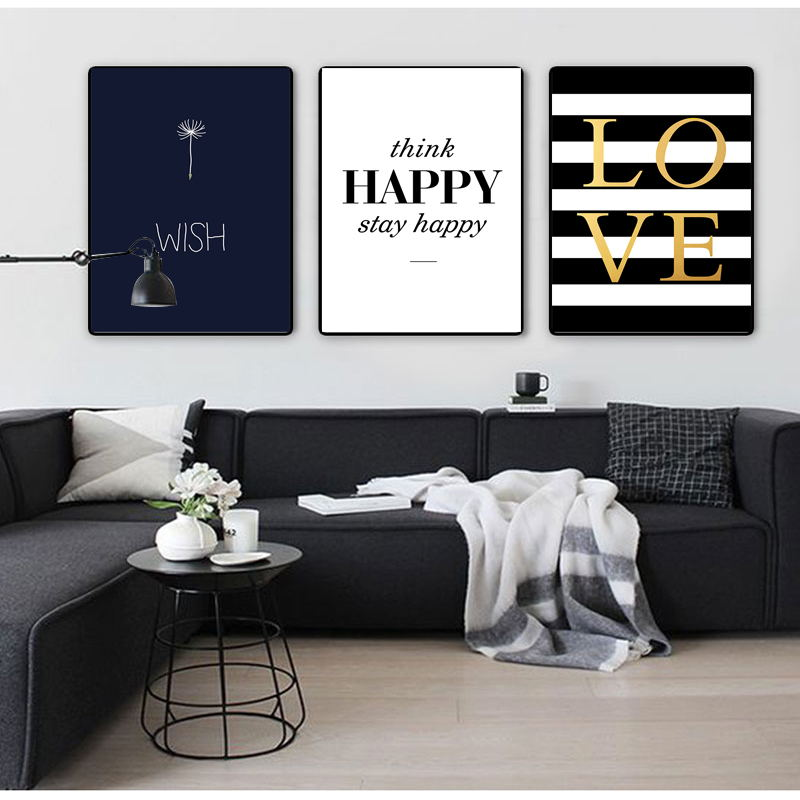 COLORFULBOY Modern Happy Quotes Canvas Painting Black White s