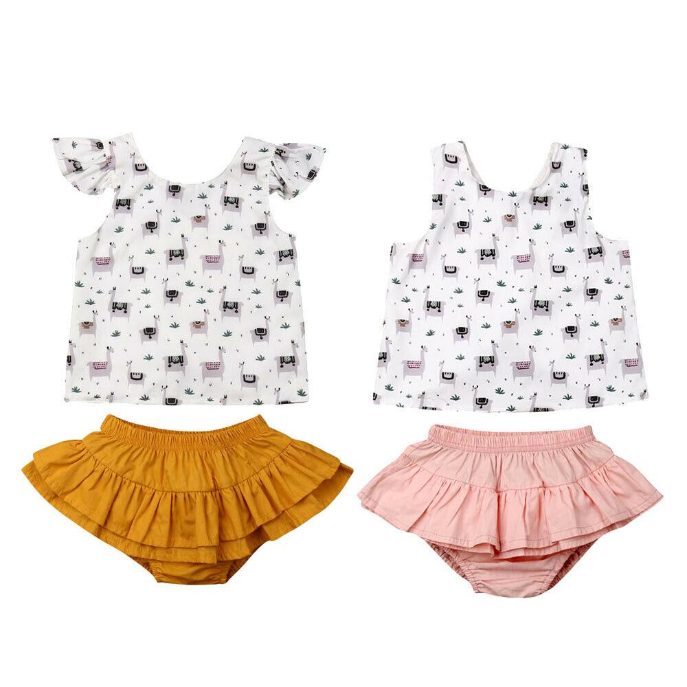 Newborn Kids Baby Girl Llama Print Sleeveless Backless Cross Vest Tops Ruffle Shorts Pants Summer2 Piece Outfits Set