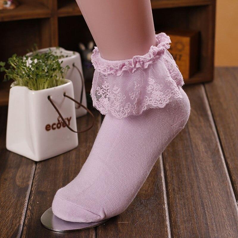 New Fashion Women Vintage Ankle   Sock   Fashion Ladies Princes Retro Vintage Lace Ruffle Frilly Retro Pink   Socks   Princess #YL105