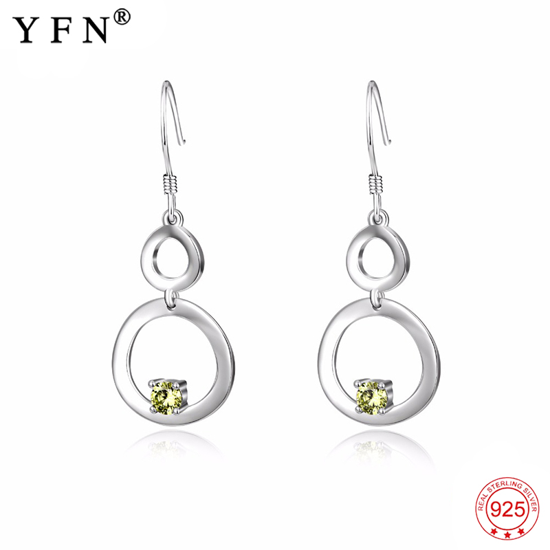 925 Sterling Silver Earrings Sweet Infinity Love Crystal Drop Earrings Green Zircon Charming Fashion Jewelry For Women PYE0098