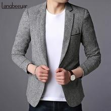 Новинка, модный брендовый пиджак, Мужской приталенный пиджак на одной пуговице, корейский черный пиджак, вечерние, повседневная мужская одежда