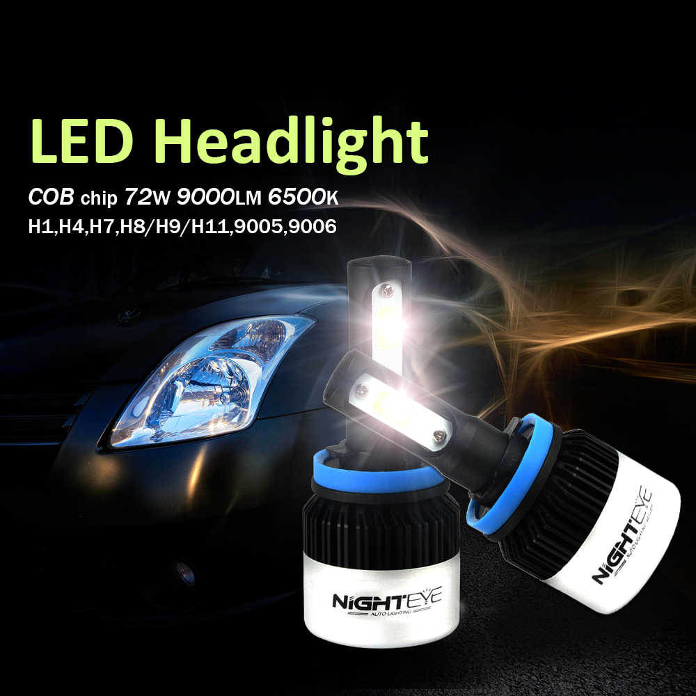 NIGHTEYE 2Pcs 9005 HB3 9006 HB4 H11 H4 H7 Led H1 Auto Car Headlight 72W 9000LM Supe white 6500K High Low Beam Automobile Bulb