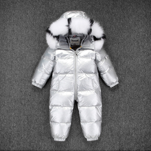 Russia Winter Kids Girls Boys Snowsuit Children White Duck Down Rompers Boys  Fur with Hooded Clothes Girls Thicken Jumpsuit цена и фото