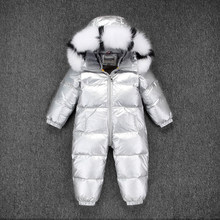 Russia Winter Kids Girls Boys Snowsuit Children White Duck Down Rompers Boys Fur with Hooded Clothes Girls Thicken Jumpsuit(China)