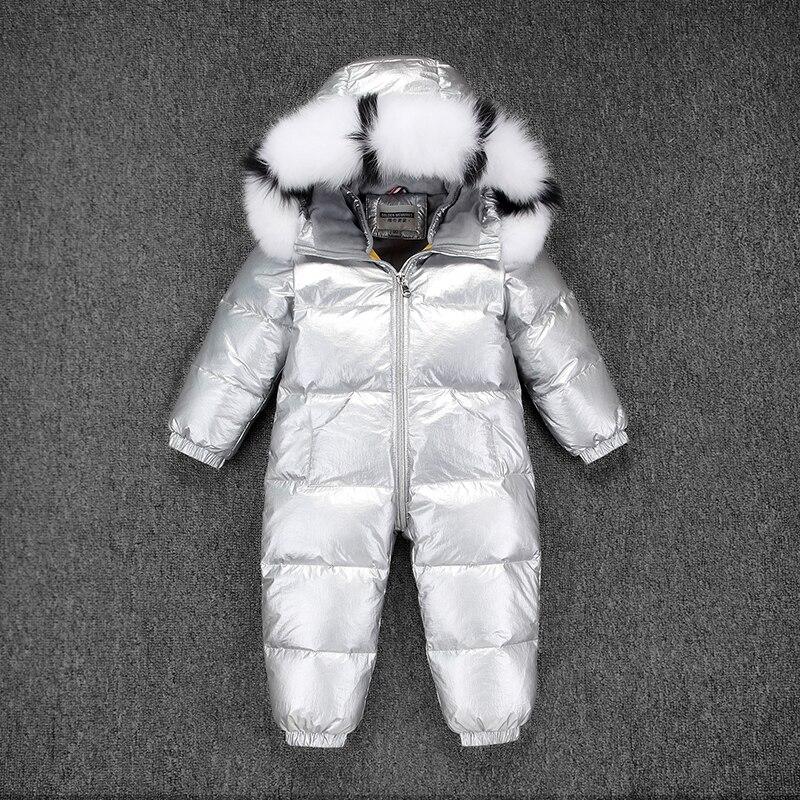 Russie hiver enfants filles garçons Snowsuit enfants blanc canard vers le bas barboteuses garçons fourrure avec des vêtements à capuche filles épaissir combinaison