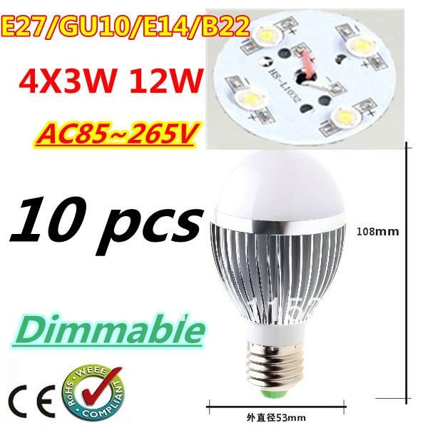 10pcs/lot Retail Dimmable Bubble Ball Bulb AC85-265V 12W E14 E27 B22 GU10 High power Globe light LED Light Bulbs Free shipping