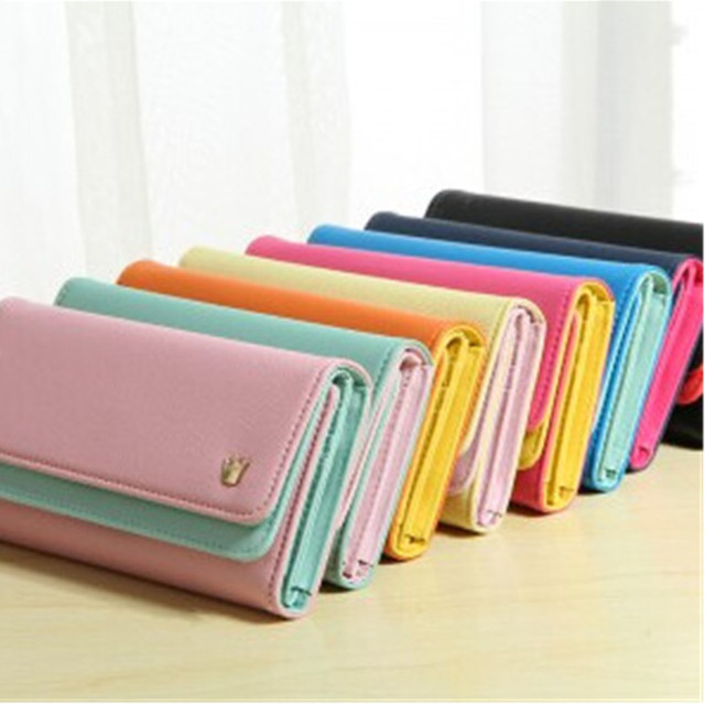 PU Candy Colors Multi-Function Wallet Durable Ticket ID Card Credit Card Cash Holder Organizer Bag Hit Color