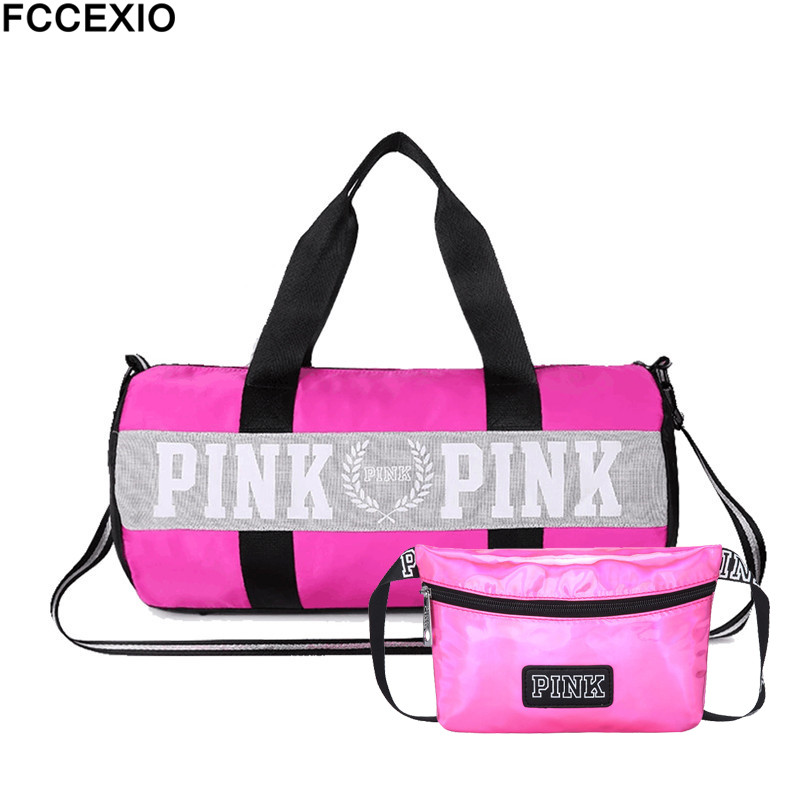 FCCEXIO 2PCS /set Women Travel Bags Love Pink Handbags Large Capacity Bags Striped Waterproof Bag Shoulder Bag And Waist Bags
