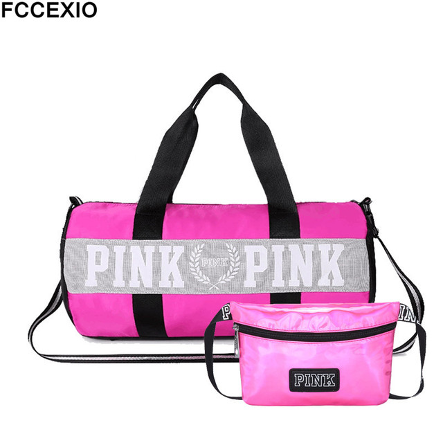 FCCEXIO 2PCS  set Women Travel Bags Love Pink Handbags Large Capacity Bags  Striped Waterproof Bag Shoulder Bag and Waist Bags cd1e818105534