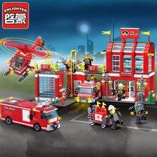 ENLIGHTEN 970Pcs Fire Rescue Headquarters Sation Centre Helicopter Truck Fireman Assemble toy car Building Blocks toys цены