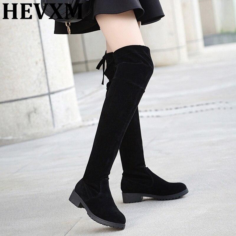 Hevmx осень-зима Новые поступления женской обуви Сапоги выше колена сапоги до бедра женские Мотоциклетные ботинки на плоской подошве, высокие сапоги на низком каблуке замшевые Обувь