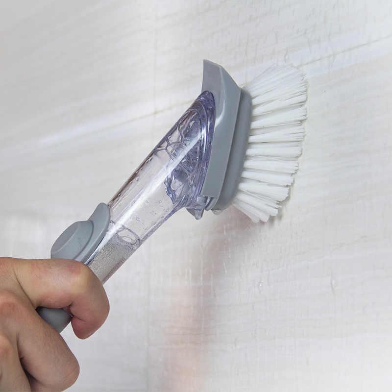 2 in1 długi uchwyt szczotka do czyszczenia z wymienny szczotka do głowy gąbki dozownik mydła w płynie szczotka do mycia naczyń zestaw kuchnia czyste narzędzia