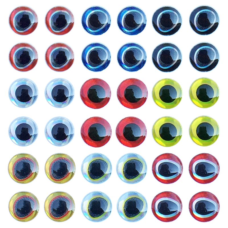 Fishing Lure Eyes 183pcs/set 3D Simulation Water Drop Fly Fishing Artificial Bait Fish Eyes Mixed Color 3mm/4mm/5mm/6mm