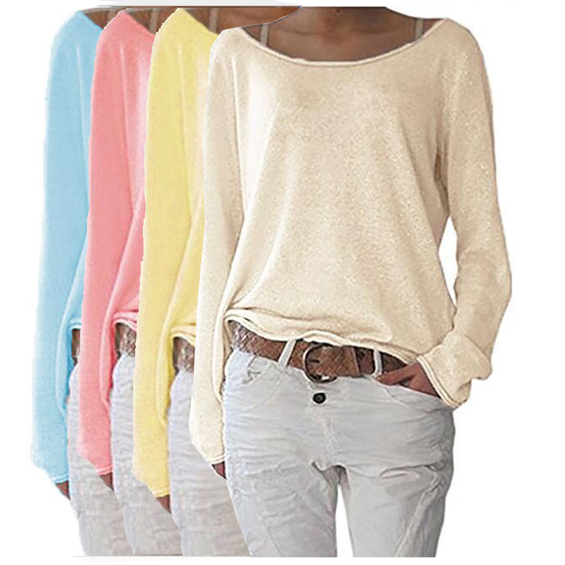 2018 New Solid Knitted Blouse Female Casual O Neck Long Sleeve Women Tops Loose White Blus